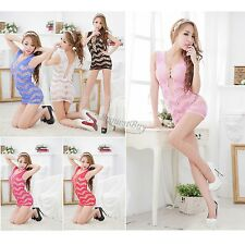 Women's Sexy Lingerie Mini Dress Babydoll Sleepwear Nightwear Fishnet Hollow