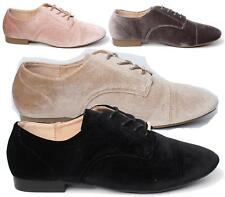 WOMENS LADIES LACE UP PIXIE BROGUE  FAUX SUEDE CASUAL FASHION ANKLE SHOES SIZE