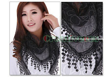 Fashion Women Lace Floral Triangle Chapel Veil Mantilla Scarf Shawl Wrap Tassel