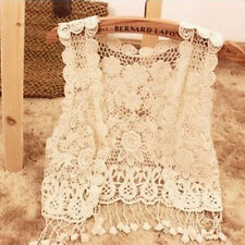 Fashion Women Girl Sweet Hollow-Out Lace Crochet Casual Shawl Tops Blouse Tassel