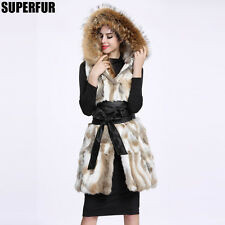 100% Real Natural Rabbit Fur Vest Gilet Waistcoat Raccoon Hoody Coat JacketV0047