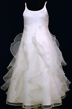 New Flower Girls Communion Bridesmaids White Dresses - Sizes 4 6 8 10 12 14