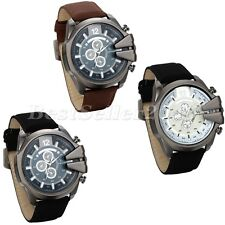 Men's Stainless Steel Big Dial Leather Band Sports Analog Quartz Wrist Watch
