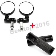 "One Set Universal Motorcycle Bike Bar End Rear View Side Mirrors 7/8"" Hand Grips"