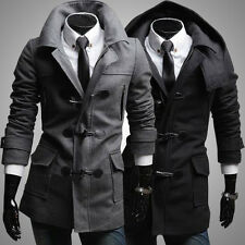 Hot casual Men's Slim Fit Winter Trench Coat Wool Long Jacket Overcoat Thicken 7
