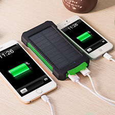 20000mAh Portable LED Solar Panel Charger Dual USB Battery Power Bank Waterproof