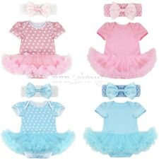 Baby Girls Newborn Headband+Romper Playsuit Party Dress Outfit Tutu Clothes 0-9M