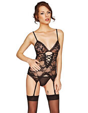 Mio Sexy On The Rocks Black Lace Basque and Thong Set B6082