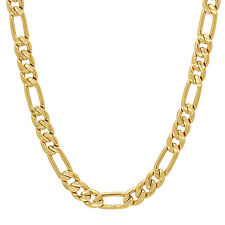 7mm 14k Gold or Rhodium Plated Diamond-Cut Figaro Link Chain Bracelet