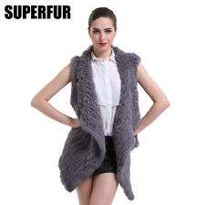 Luxury Waistcoat 100% Real Knitted Rabbit Fur Vest Big Collar Free Size V0112