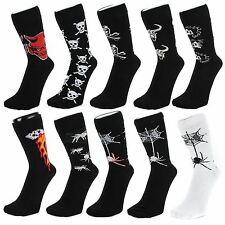 Gothic Style Ankle Socks With Skulls Devils Spiders Bulls (Size: 4-7)