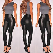 Womens Faux Smooth/Matt leather High waist Tight Leggings Trousers Skinny Pants