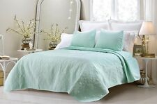 3pc Sage Green Oversized Quilted Coverlet Bedspread Bedding Set AND Pillow Shams