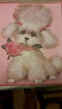 ADORABLE VINTAGE POODLE DOG PRINT PICTURE 1950 - 1960 ERA NOS MUST SEE