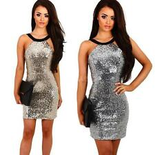 Women Backless Sequin Bodycon Sleeveless Evening Club Cocktail Mini Dress R6O0