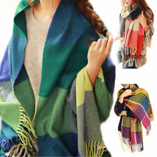 Women Fashion Winter Warm Soft Tassel Plaid Scarf Pretty Long Wrap Shawl Scarves