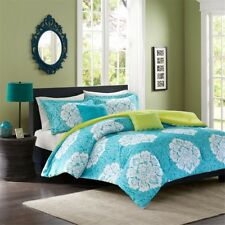 Luxury Teal Green & White Damask Reversible Comforter Set AND Decorative Pillows