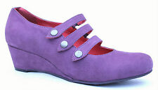 Moshulu Cancan UK 4 & 8 Purple Suede Mary Jane Triple Strap Wedge Heel Shoes