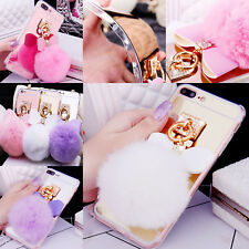 Bling Rubber Luxury Bowknot Mirror Rabbit Fur Ball Soft Warm Ring TPU Case Cover