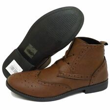 MENS LACE-UP BROWN SMART CASUAL MILITARY BROGUE ANKLE ARMY BOOTS SHOES UK 6-11