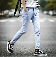 New Men's Fashion Straight Denim Slim Fit Pants Pencil Trousers Washed Jeans 05