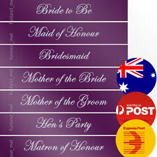 Purple Sashes White Text Hens Night Bridal Bride To Be Bridesmaid Maid of Honour