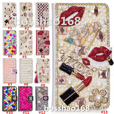 Magnetic Bling Luxury Diamonds Crystal PU Leather wallet flip Slots Cover Case D