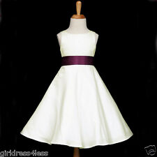 IVORY/PLUM PURPLE A-LINE WEDDING FLOWER GIRL DRESS 12-18M 2/2T 4 6 8 10 12 14 16