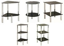 Black Glass & Chrome Furniture, Coffee Side End Table, Shelf, Corner Unit