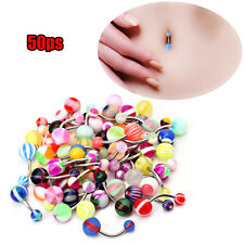 6/100X Acrylic Stainless Steel Navel Belly Ring Bar Body Piercing Stripe Jewelry