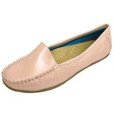 WOMENS PINK PEARLESCENT SLIP-ON LOAFERS COMFORT CASUAL MOCCASIN SHOES UK 3-7
