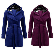 Ladies Women Fashion Trench Coat Slim Fit Belted Double Breasted Jacket Overcoat
