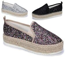 LADIES WOMENS ESPADRILLES FASHION SKATER RUBBER SOLE TRAINERS CASUAL PUMPS SHOES