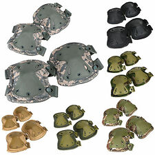 Pro Airsoft Tactical Adjustable Combat Knee + Elbow Protector Pads Kit Skate Pad