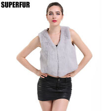Hot Sell 100% Real Whole Skin Rabbit Fur Vest Lady Mini V-Neck Coat V0005