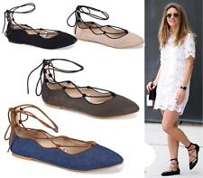 Ladies Women Flat Lace Up Pointed Toe Slip on Casual Gladiator Ballet Pumps Shoe