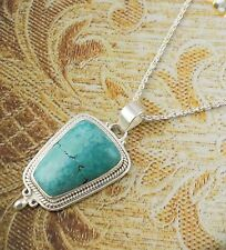 Natural Turquoise Fancy Shape 19x27mm Gemstone 925 Sterling Silver Pendant