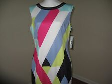 Tahari ASL Geometric Striped Scuba Sheath Dress for Woman Size 6 NWT $138