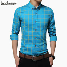 NEW PLAID SHIRT MEN FASHION LONG SLEEVE SLIM FIT COTTON MENS DRESS SHIRTS C2299