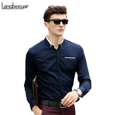 MEN CASUAL LONG SLEEVE SHIRT SLIM FIT HIGH QUALITY COTTON MENS DRESS NWT 22218