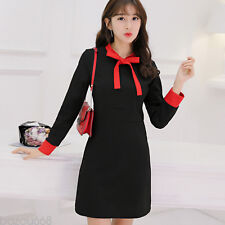 Korea Fashion Autumn Winter Elegant Womens Long Sleeve Sweet Mini Dresses
