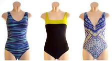 M&S Shaped Swimming Costume Swimsuit Size 12 Floral Pattern Striped Blue Black