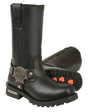 """Milwaukee Leather 11"""" Harness Boots Square Toe Finish & Side Zipper for Men"""