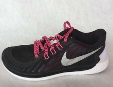 New Nike Youth Free 5.0 GS Black Silver Pink Girls Running Shoes 725114 006