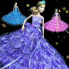 Gorgeous Peony Multi Ruffled Tail Wedding Dress Clothes Gown for Barbie Dolls