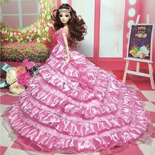 Gorgeous Multi Ruffled Tail Sequined Wedding Dress Clothes Gown for Barbie Dolls