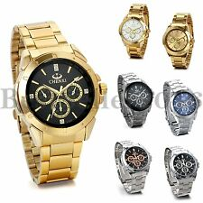 Luxury Mens Stainless Steel Silver Gold Tone Sports Analog Quartz Wrist Watch