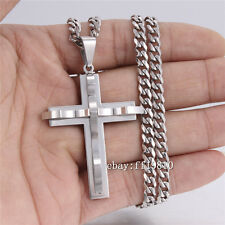 5mm Mens Chain Silver Tone Curb Link Stainless Steel Cross PENDANT NECKLACE