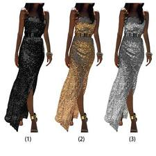 Sexy Sequins Strapless Long High Split Cocktail Party Evening Bridesmaid Dress