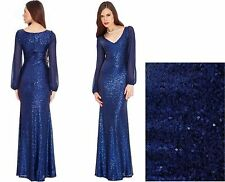 Gorgeous Sheer Sleeved Sequin Long Party Evening Cocktail Dress Prom Dress